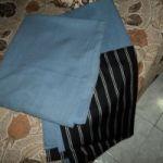 Vendo 1 Juego de Cortinas de comedor (color azul, con tela agregada debajo)