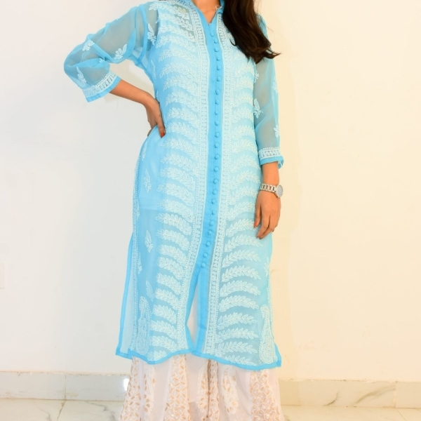 Buy Hand Embroidered Lucknowi Chikan Kurti With Palazzo