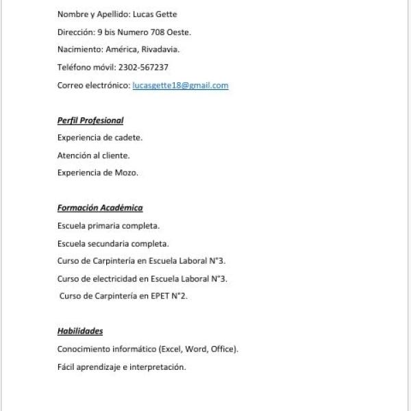 Busco empleo.