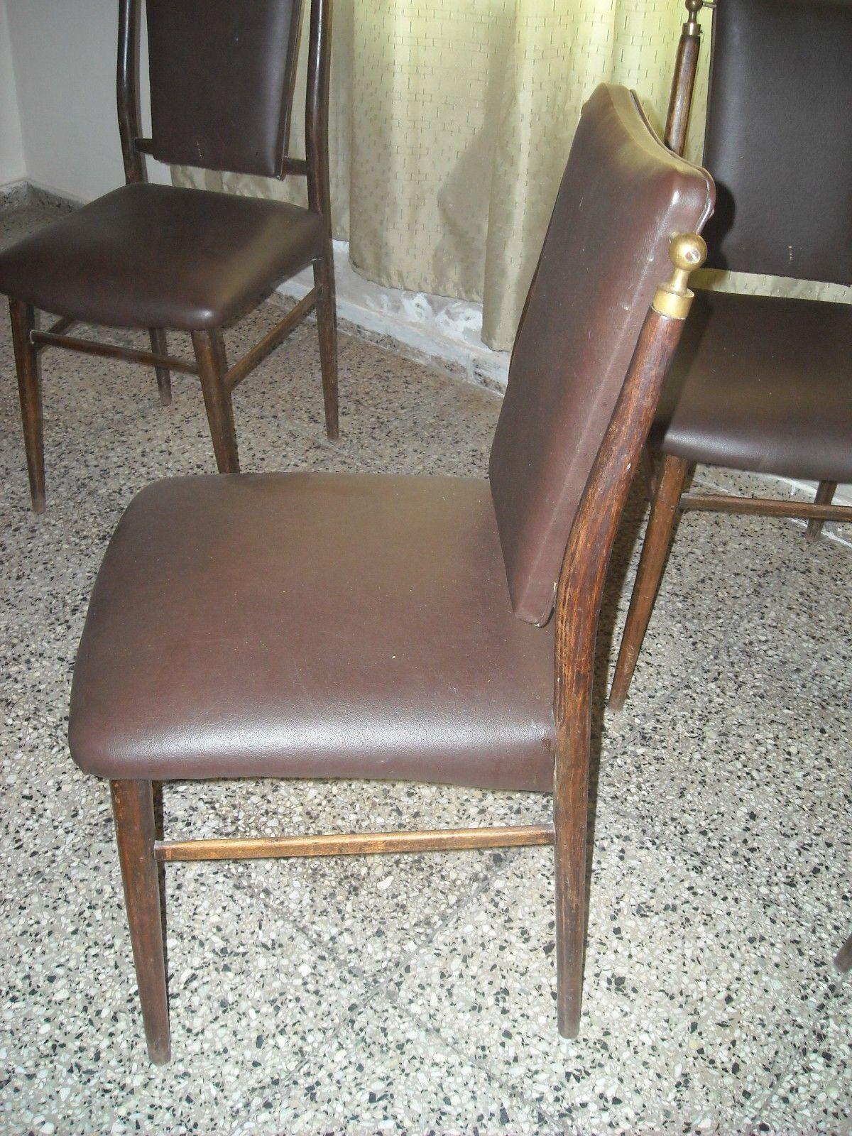 Vendo 6 sillas de madera tapizadas en cuerina hogar for Sillas de madera