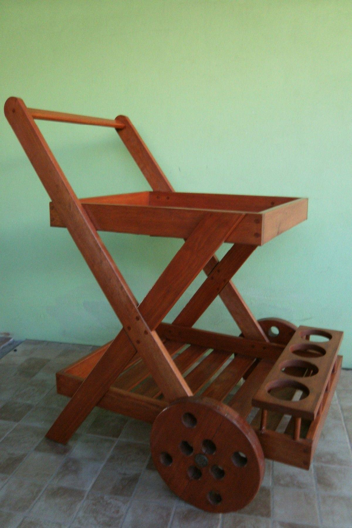 Vendo carrito bar de madera hogar muebles y jard n for Carritos de madera para jardin