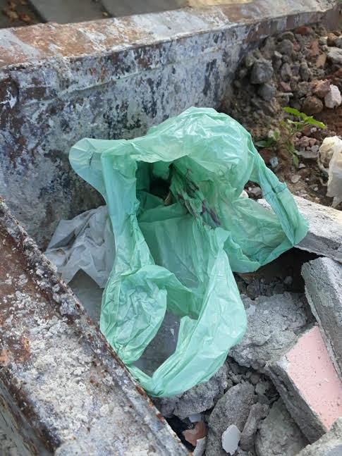 bolsa con revólver y celular que se encontró en un contenedor en General Pico