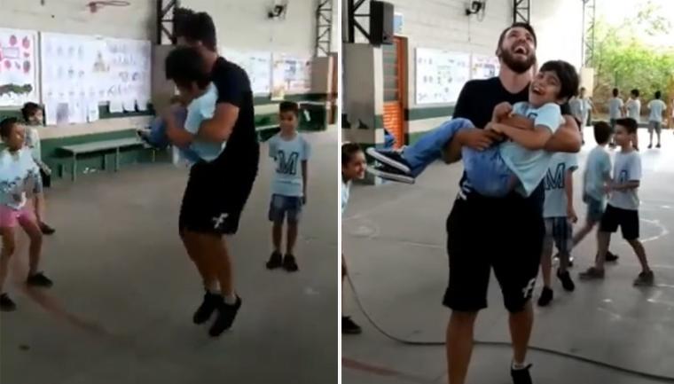 Video Viral que emociona: El nene estaba en silla de ruedas y su profesor lo ayudó a saltar la cuerda en Brasil