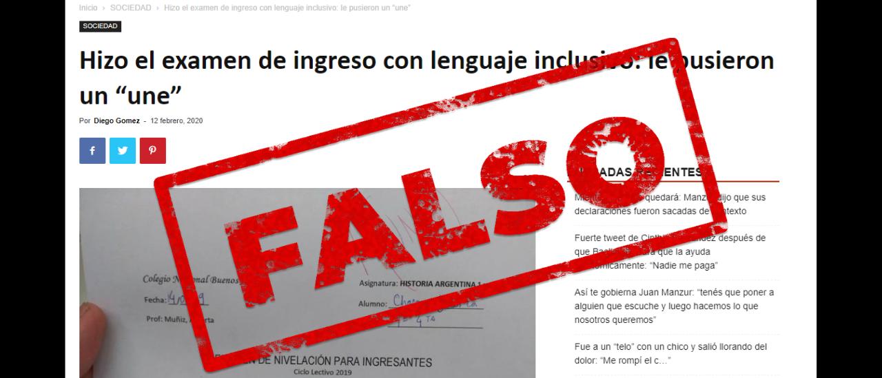 """Resultó FALSA la noticia que informa sobre un examen del Colegio Nacional de Buenos Aires aplazado con un """"une"""""""