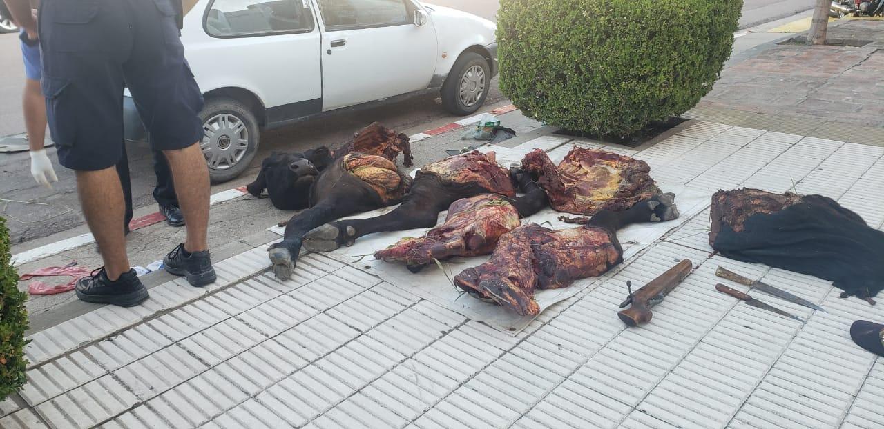 La Policía de Castex demoró a tres hombres y una mujer que llevaban un animal faenado de 250 kg en su auto: Además les secuestraron dinero, armas y droga
