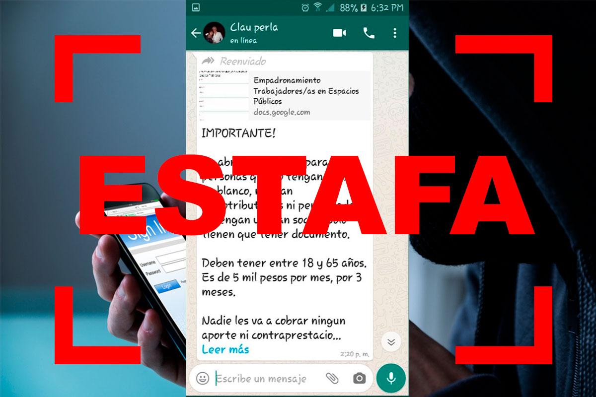"""Coronavirus y ciberestafas: alertan por cadenas de WhatsApp donde se pide a los usuarios que se """"inscriban"""" en un padrón para recibir subsidios"""