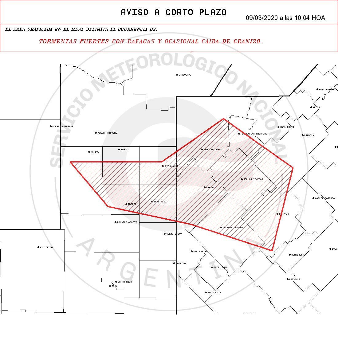 Alerta a corto plazo por «tormentas fuertes y ocasional caída de granizo» para General Pico y alrededores
