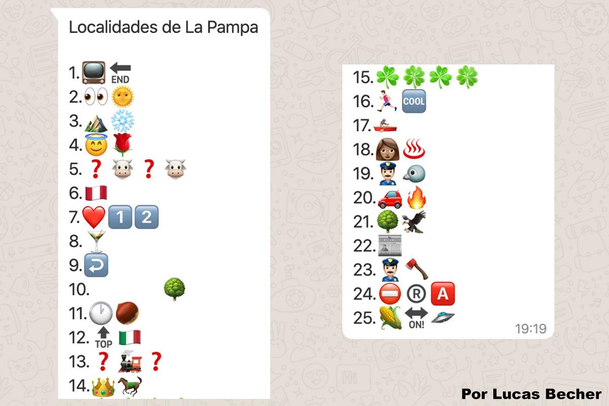 A la cuarentena la pasamos en casa jugando: ¿Podes adivinar a qué localidad de La Pampa hacemos referencia con los emoticones?