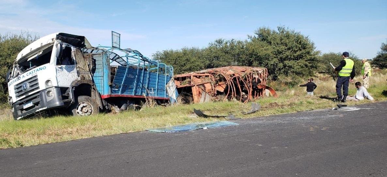 Un conductor de un camión jaula oriundo de Alta Italia volcó en la Ruta 14: El camionero sólo presentaba golpes leves y murieron cinco animales