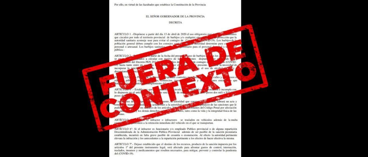 Es falso que la provincia de La Pampa estableció el uso obligatorio de barbijo desde el próximo 13 de abril