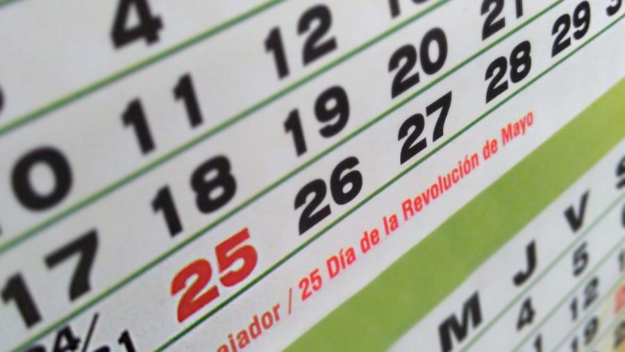 Lunes 25 de Mayo es Feriado Nacional e inamovible