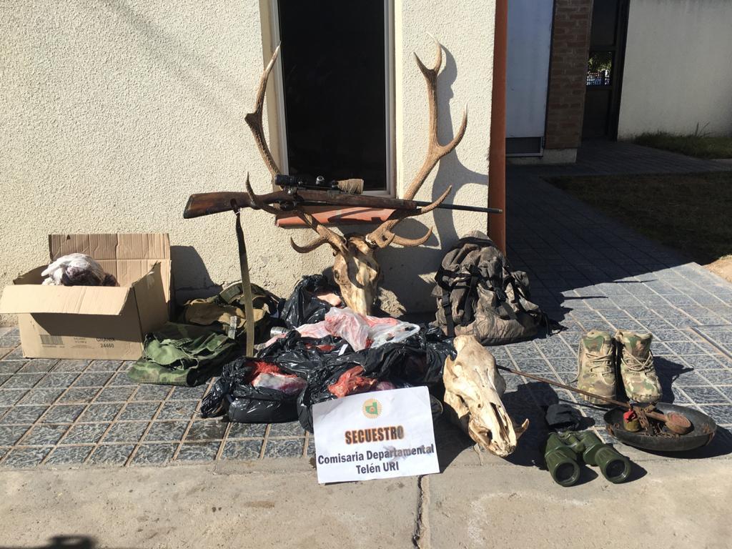 Telén: en dos allanamientos secuestran una importante cantidad de carne y elementos de caza