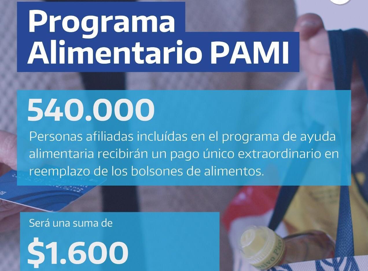 El 15 de mayo comienza el pago del Programa Alimentar PAMI, que reemplaza el bolsón de alimentos