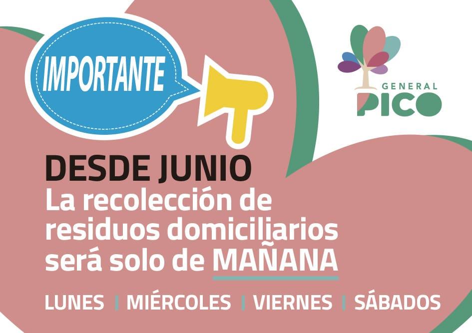 ¡Atención! Desde mañana en General Pico la recolección domiciliaria de residuos será solo en horario de mañana