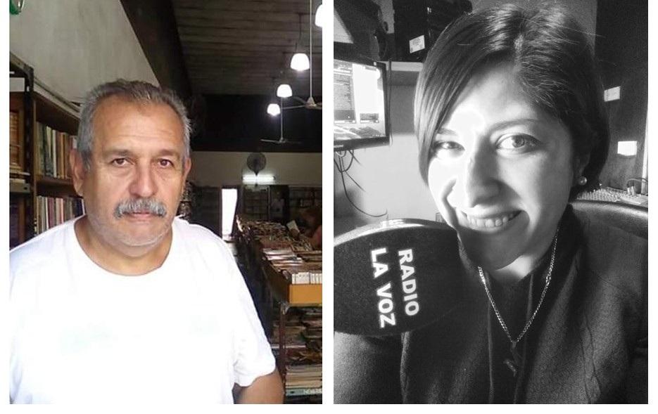 El escritor piquense Héctor Massara y la locutora trenelense Maru Pérez en la audioteca del Consejo Federal de Inversiones