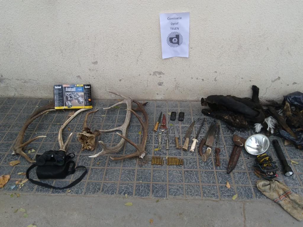 Detienen a tres personas por caza ilegal en Telén y secuestran varios elementos utilizados para la actividad