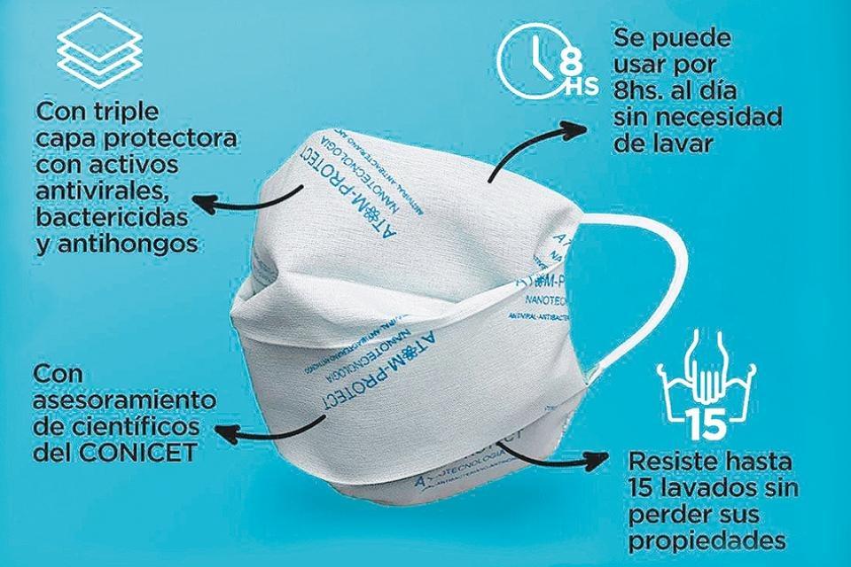 Investigadores argentinos crean tapabocas con propiedades antivirales