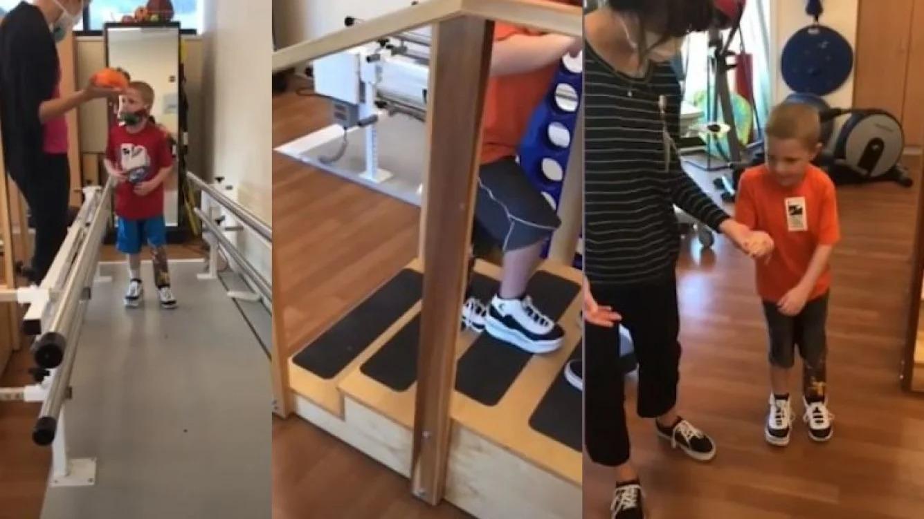 Superación: niño vuelve a caminar después de que un accidente lo dejara con parte de una pierna amputada