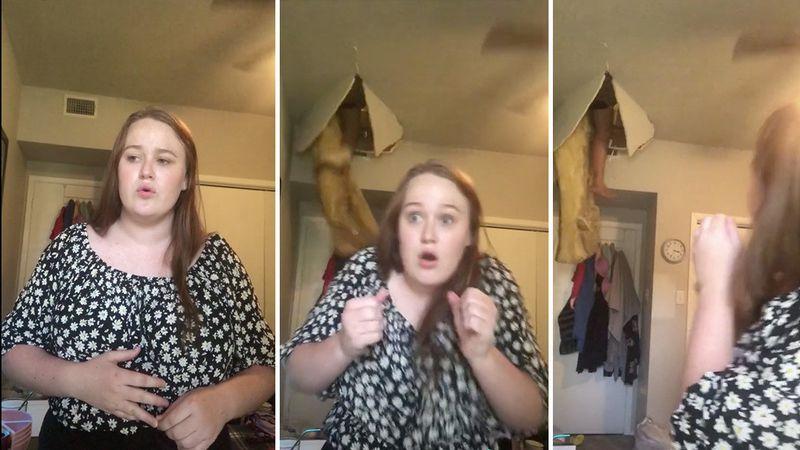 Video: una joven grababa un Tik Tok cuando de repente se abrió el techo y cayó una mujer
