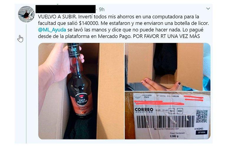 Increíble robo en una compra de Mercado Libre, pidió una laptop Mac de $140 mil y le llegó una botella de licor