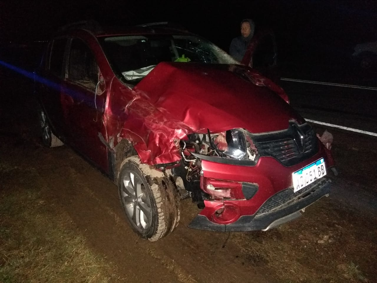 Violento accidente entre Ojeda Y Falucho: un auto chocó contra 3 vaquillonas preñadas