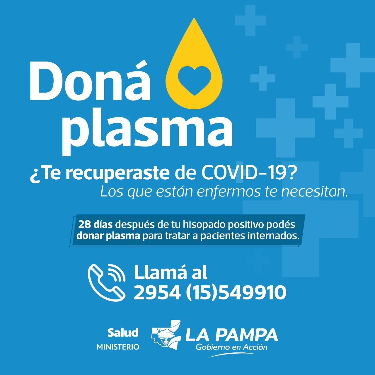 Desde Salud buscan que los recuperados de COVID-19 en La Pampa donen plasma