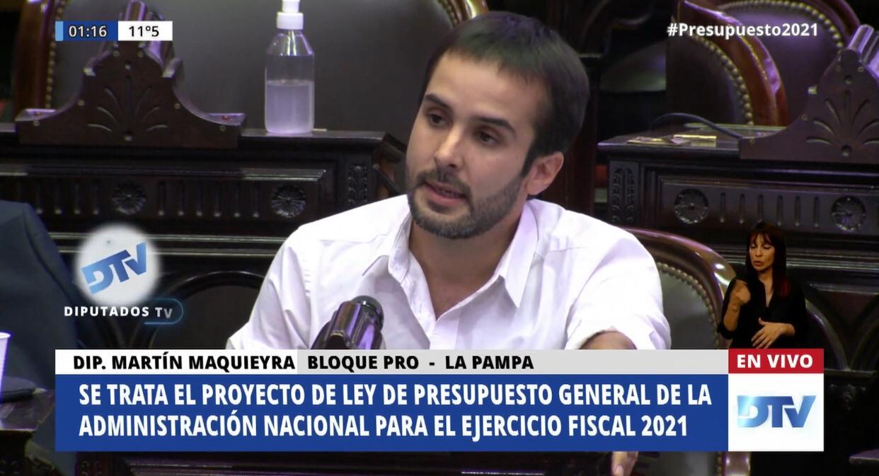 Tras la aprobación del presupuesto nacional, el diputado Maquieyra criticó «las escasas partidas para viviendas» a La Pampa