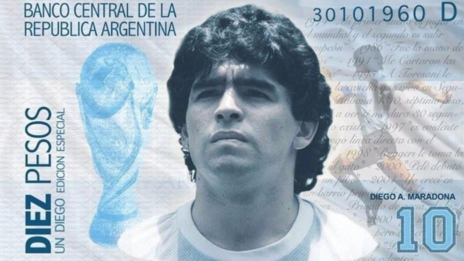 Proponen crear un billete de 10 pesos con la imagen de Diego Maradona