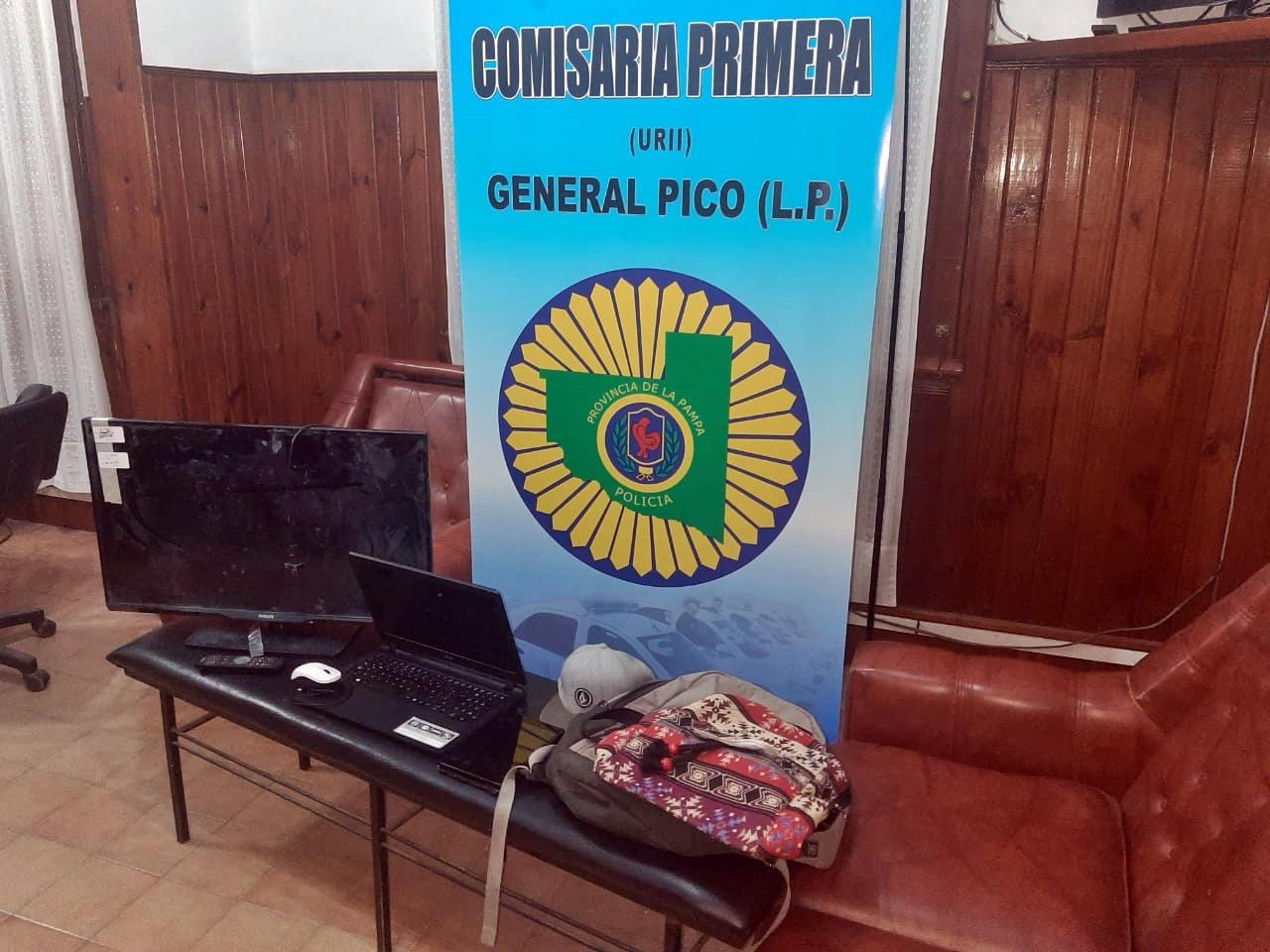 Allanan depósito de muebles y recuperan televisor, computadora y otros elementos robados