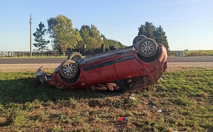 Rancul: Despiste y vuelco en la Ruta 188 dejó una mujer hospitalizada