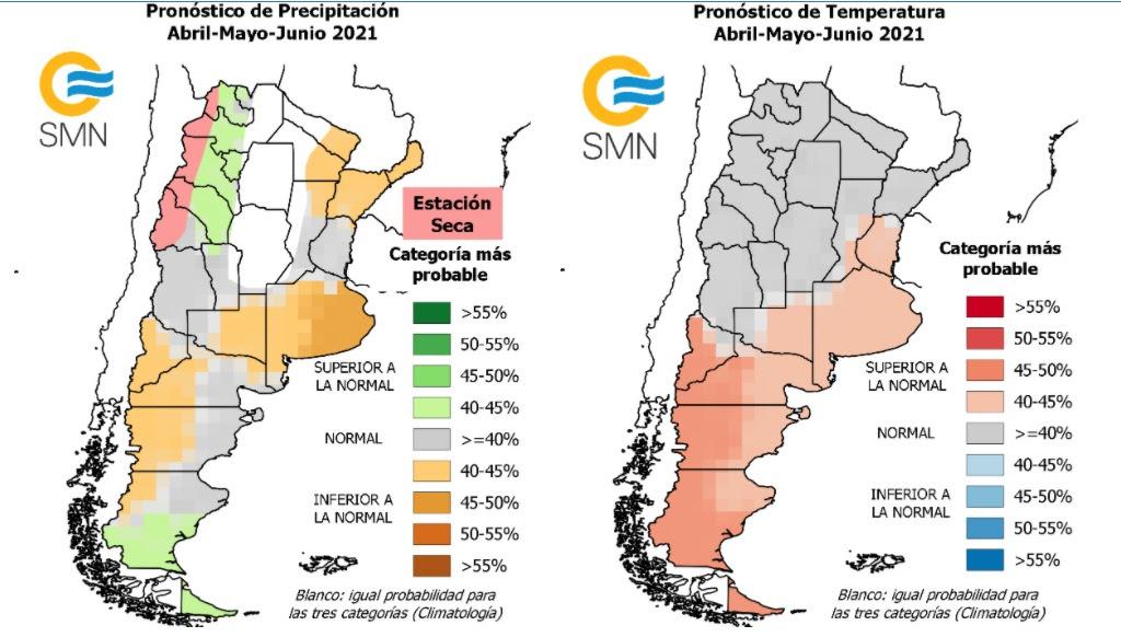 Pronóstico climático para el trimestre: La Pampa con la mayor probabilidad de tener condiciones de lluvias entre normales o más secas de lo normal