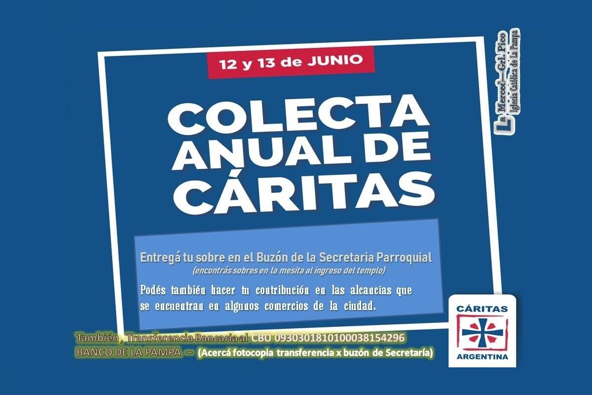 Se organiza en General Pico la colecta anual de Cáritas Argentina